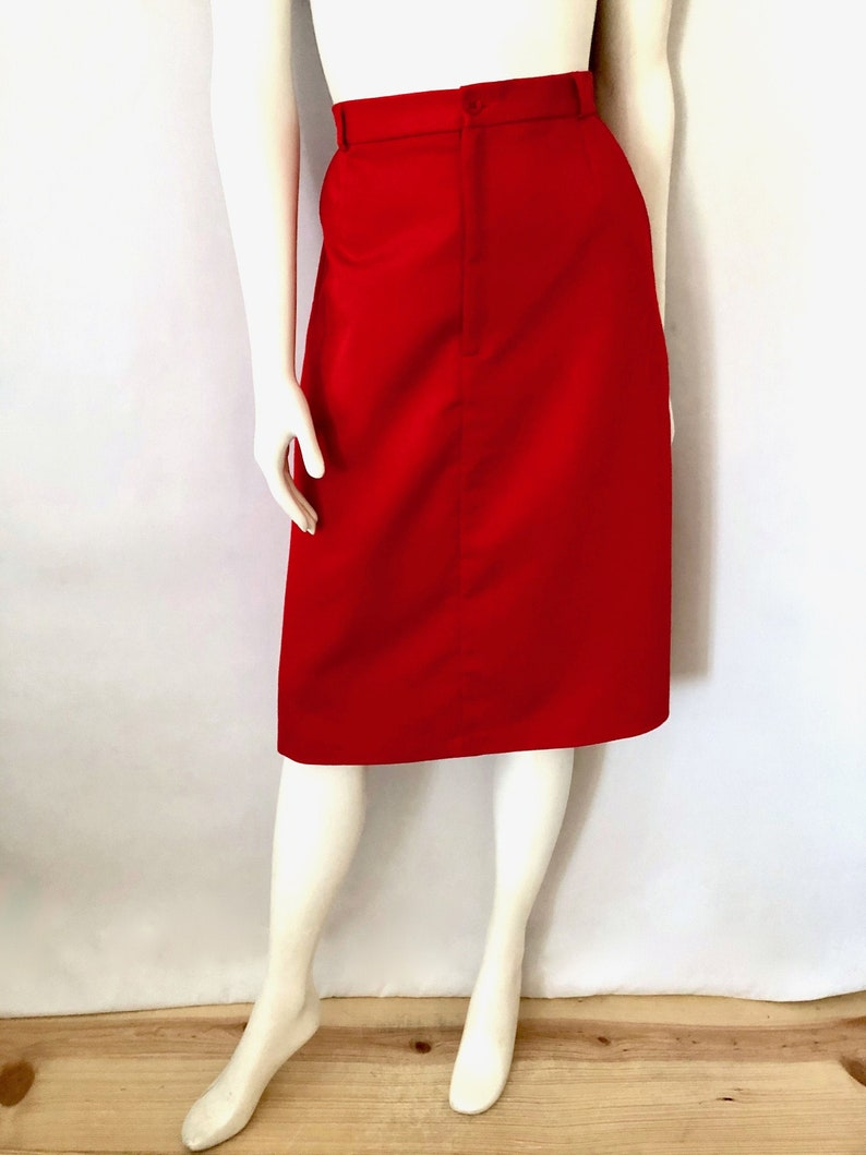Vintage Women's 80's Red Knee Length A Line Skirt by image 0