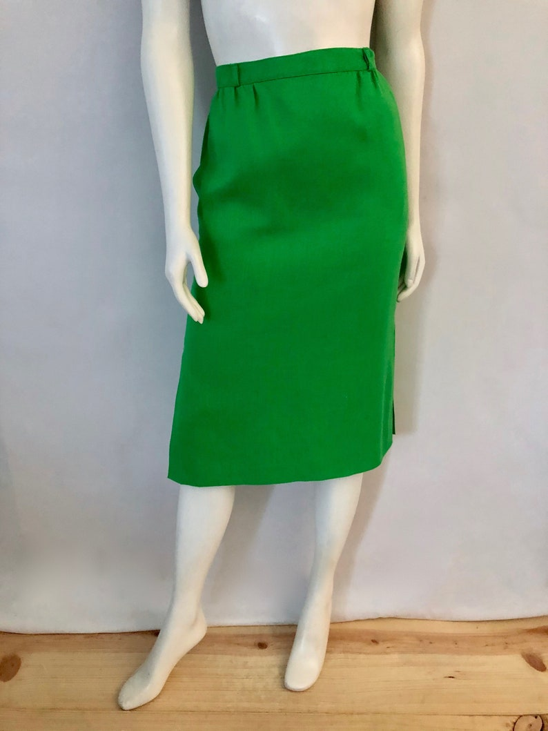 Vintage Women's 80's Kelly Green Fully Lined Pencil image 0
