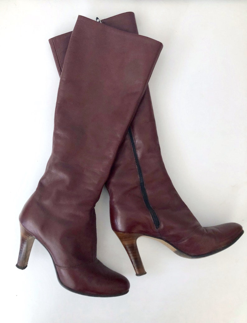 Vintage Shoes Women's 80's Burgundy Heeled Leather image 0