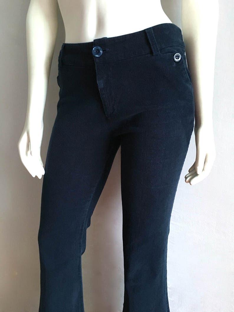 ec30b4fa817a Blu Navy di donna vintage anni   70 pantaloni di velluto