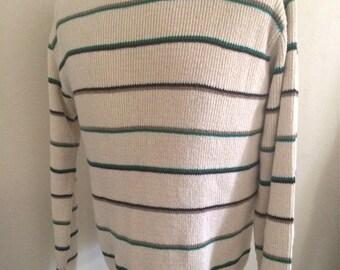 Vintage Men's 80's Sweater, Acrylic, Off White, Striped by Jaymar/Sansabelt (L)