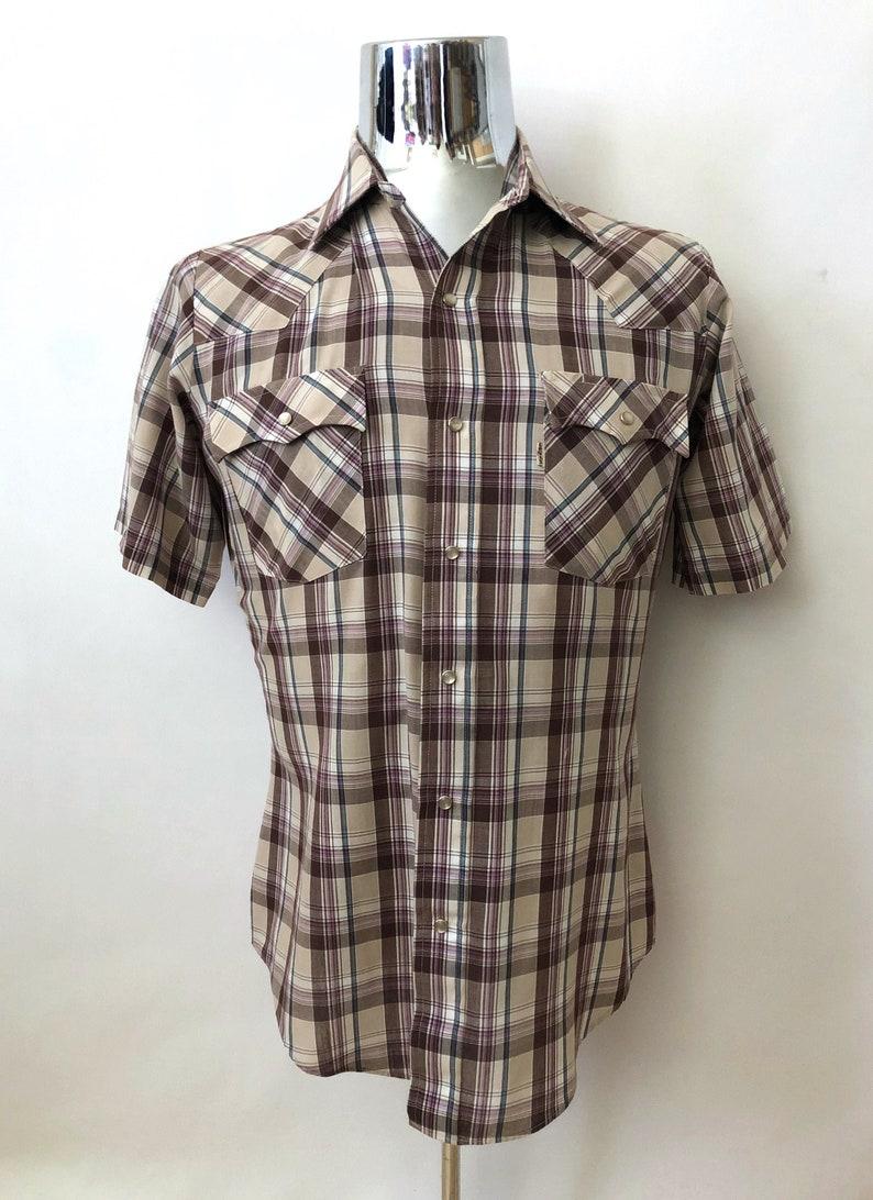 Vintage Men's 80's Levi's Tan Plaid Shirt image 0