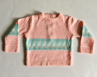 Vintage Baby Girl's 80's Pink, Duck Sweater, Acrylic, Long Sleeve (12 mos)