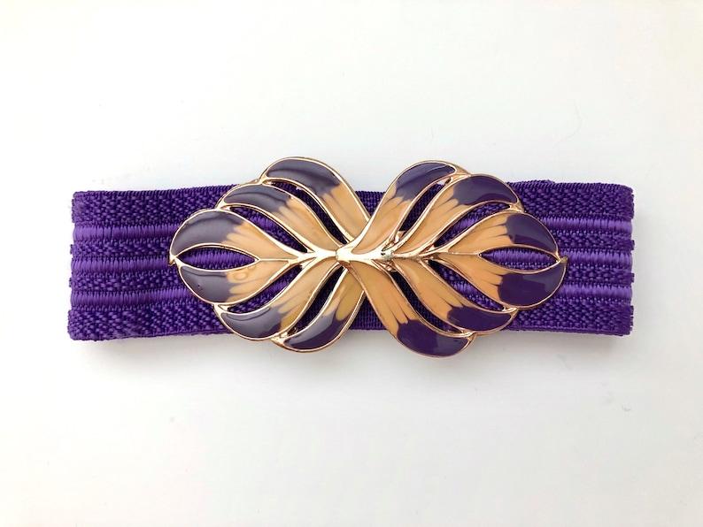 Vintage Belts Women's 80's Purple Leaf Stretchy image 0
