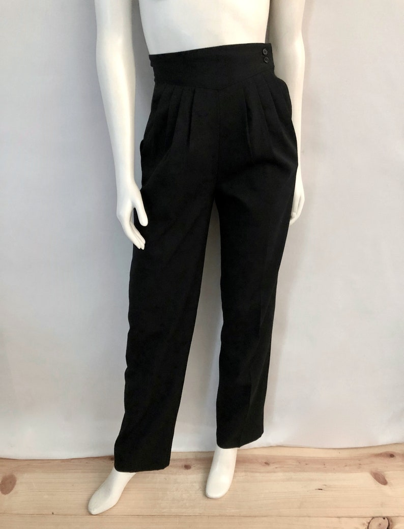 Vintage Women's 80's Black High Waisted Pleated image 0