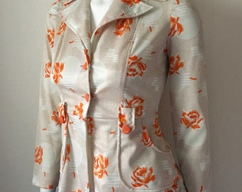 Vintage Women's 70's Floral Jacket, Polyester, Tan, White, Long Sleeve (XS)