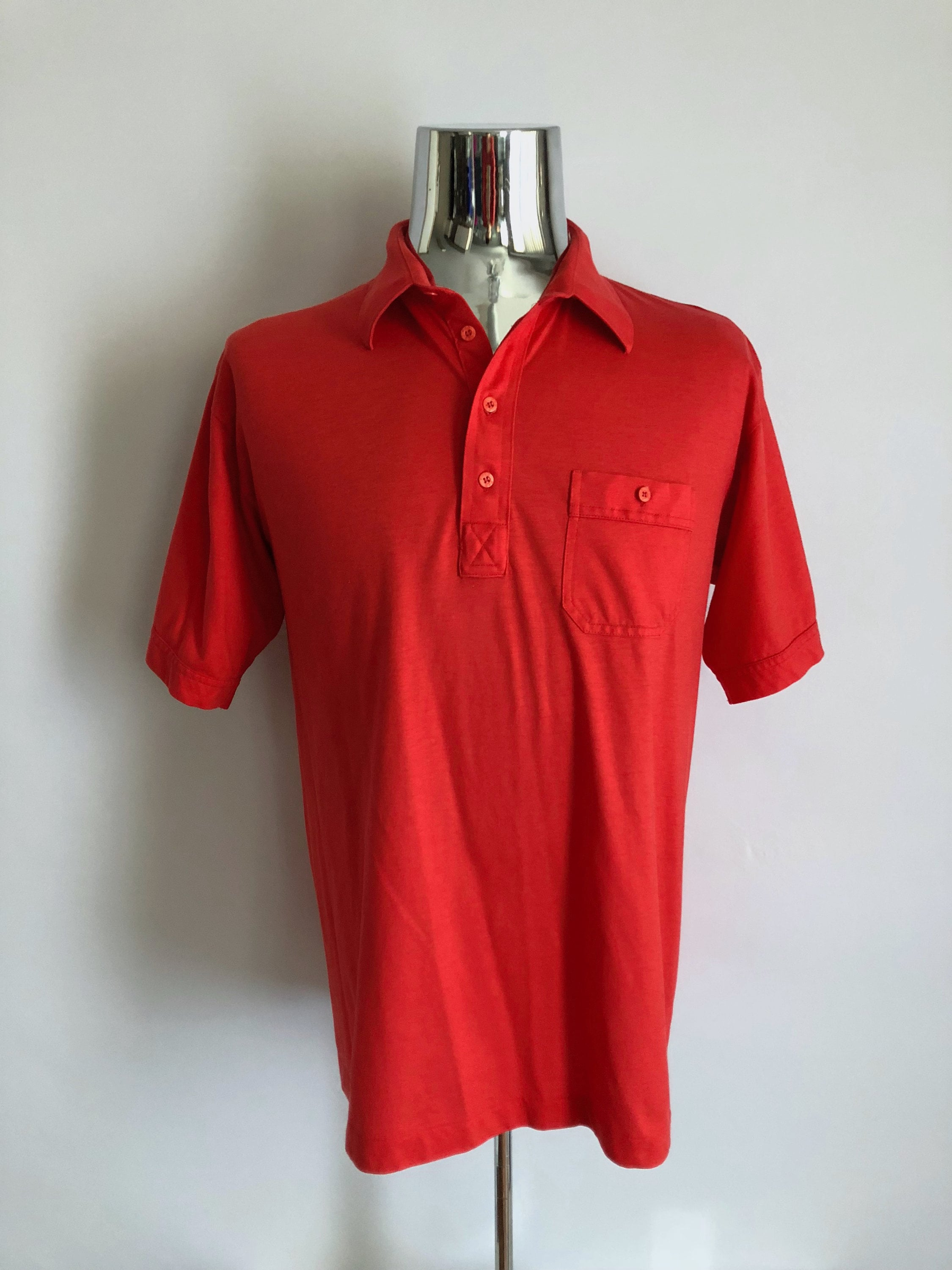 Vintage Mens 80s Red Polo Shirt Short Sleeve By Etsy