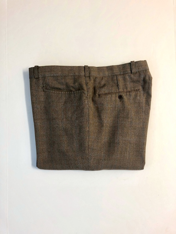 Vintage Men's 80's Brown, Plaid, Straight Leg, Pa… - image 1