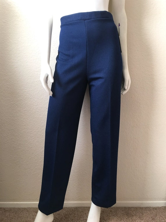 Polyester High Waisted Vintage Unisex 70/'s Disco Blue L Pants Straight Leg