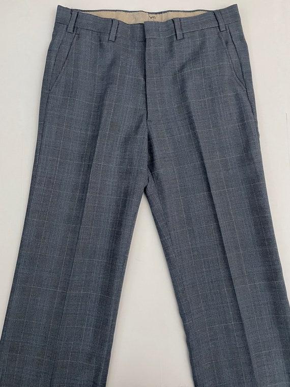 Vintage Men's 80's Blue-Gray, Plaid, Bootcut, Pan… - image 2