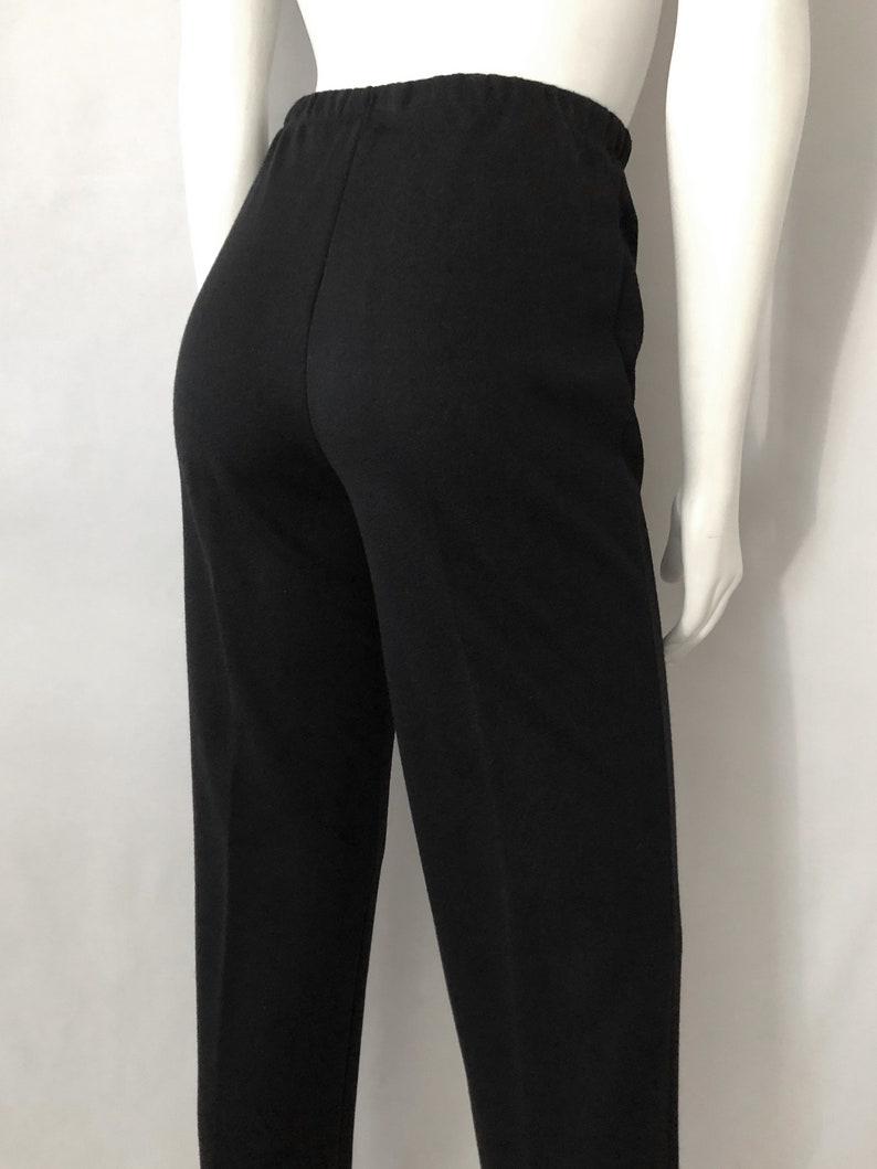 Knit Straight Leg High Waisted S Vintage Women/'s 70/'s Black Pants