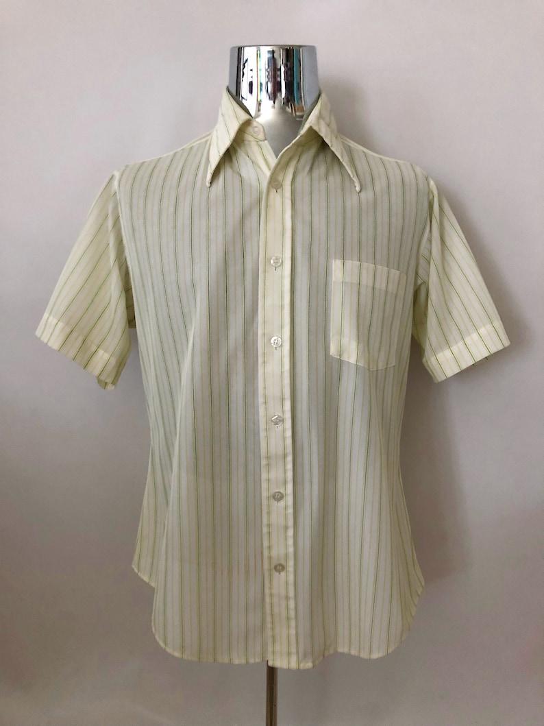 eab8818f Vintage Men's 70's Disco White Yellow Striped   Etsy