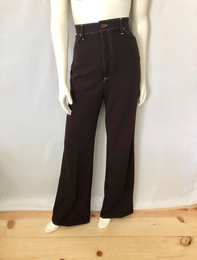 Vintage Women's 70's Disco Brown Polyester High image 0