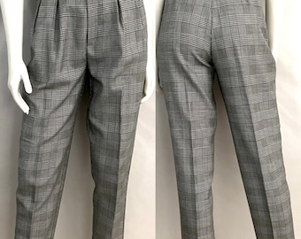 Vintage 80's Checkered, High Waisted, Tapered, Pants by Star CCC (M)