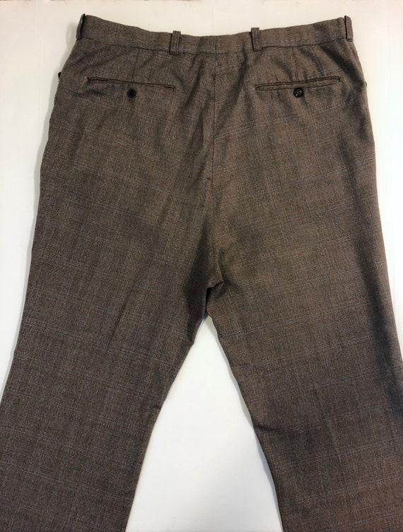 Vintage Men's 80's Brown, Plaid, Straight Leg, Pa… - image 6