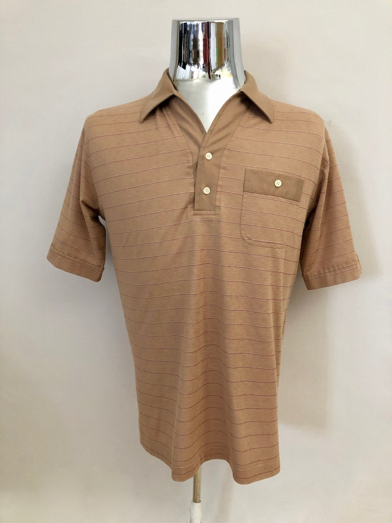 Vintage Men's 80's Mervyn's Tan Red Striped image 0