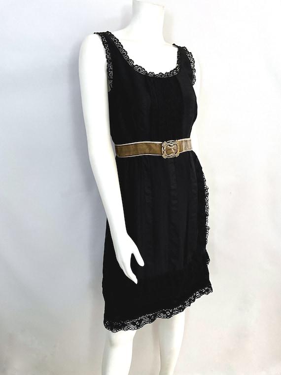 Vintage Women's 90's Anna Sui, Black, Silk, Lace,… - image 2