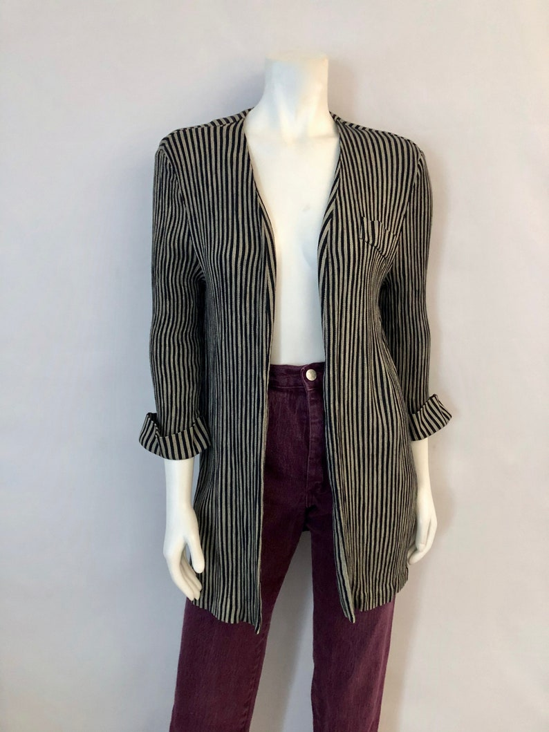 Vintage Women's 80's Tan Black Striped Open Jacket image 0