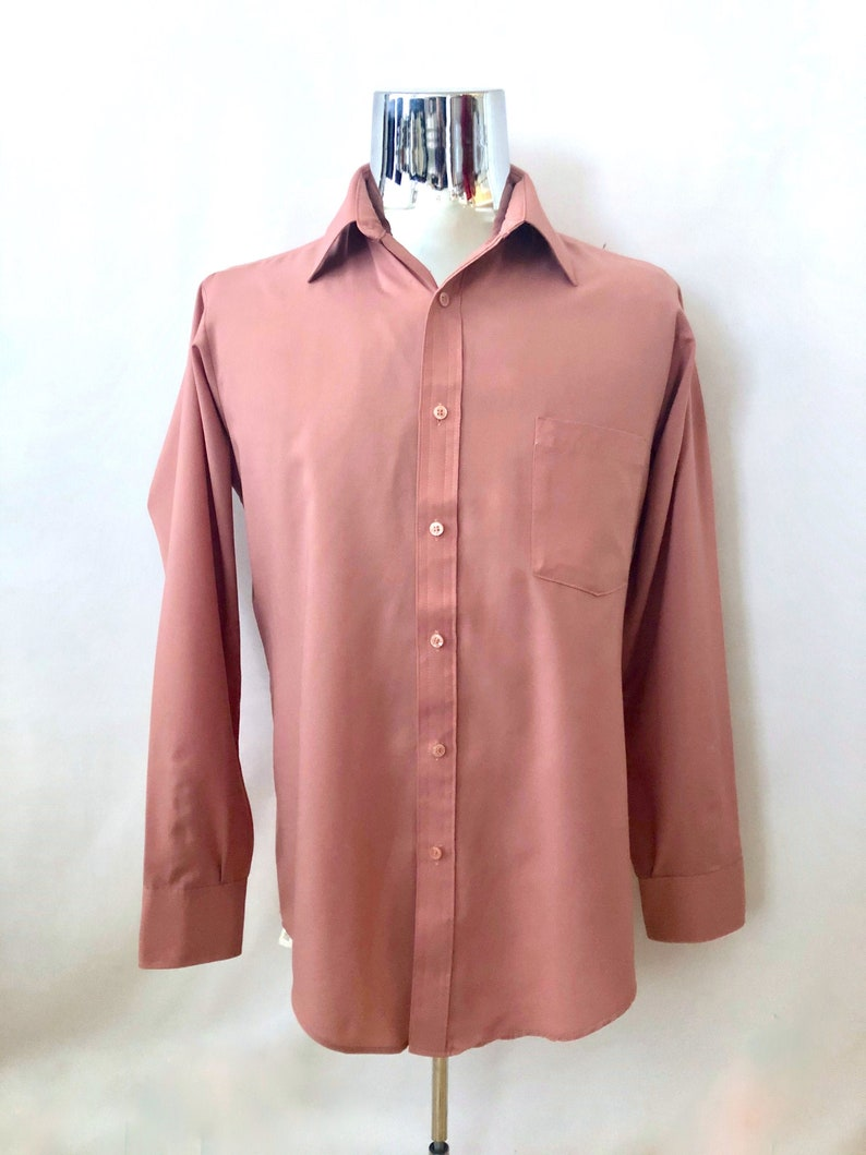 Vintage Men's 80's Mauve Long Sleeve Button Down image 0