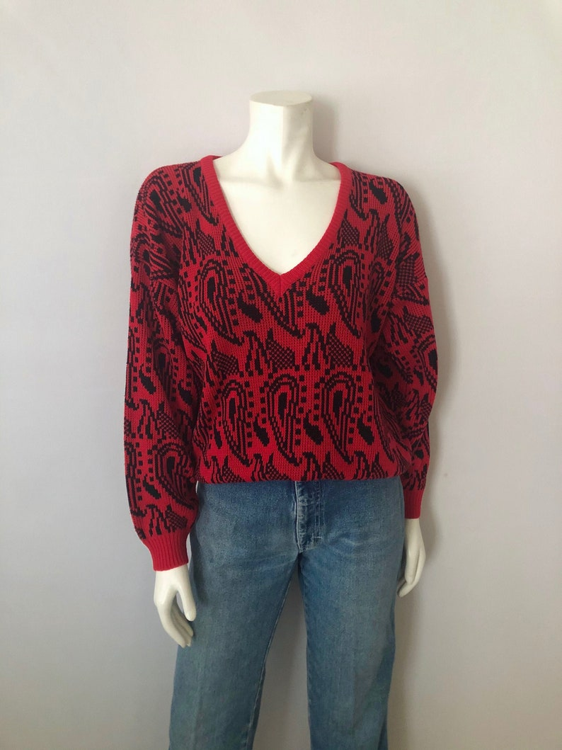 Vintage Women's 80's Oversized Red Black Geometric image 0