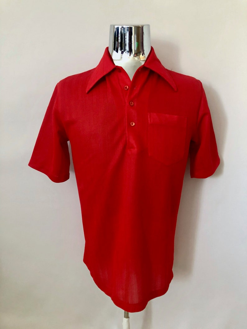 Vintage Men's 70's Jantzen Red Nylon Short Sleeve image 0