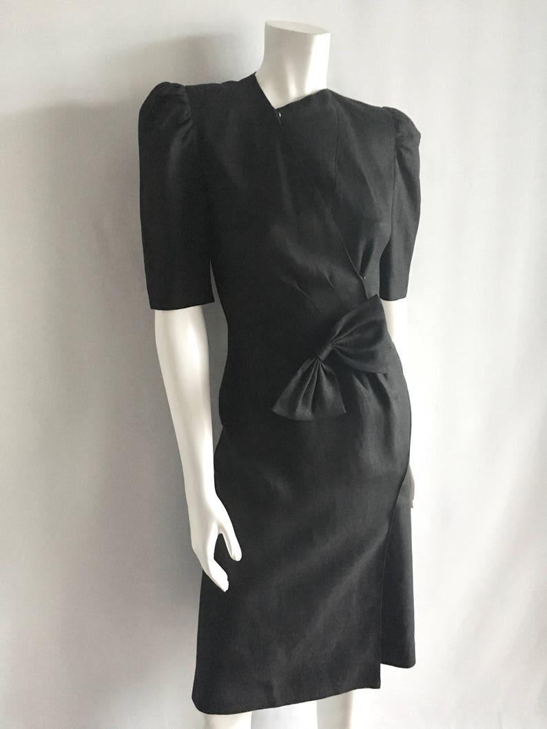 Knee Length by Ragazza Vintage Women/'s 80/'s Black Dress S Short Sleeve