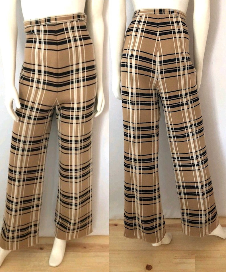 Vintage Women's 70's Tan Plaid Wide Leg Wool Pants image 0