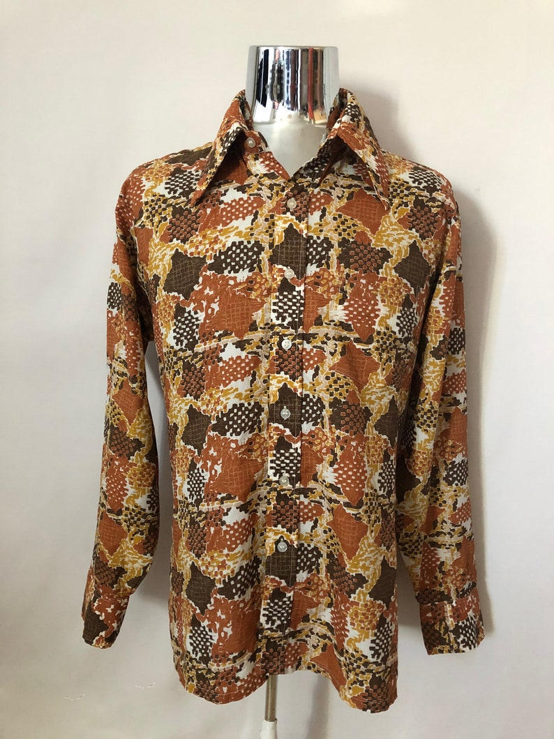 Vintage Men's 70's Disco White Brown Abstract image 0