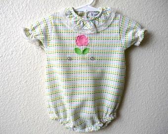 Vintage Baby Girls 70's Carters, Onesie, Rose, Colorful (0-3 mos)