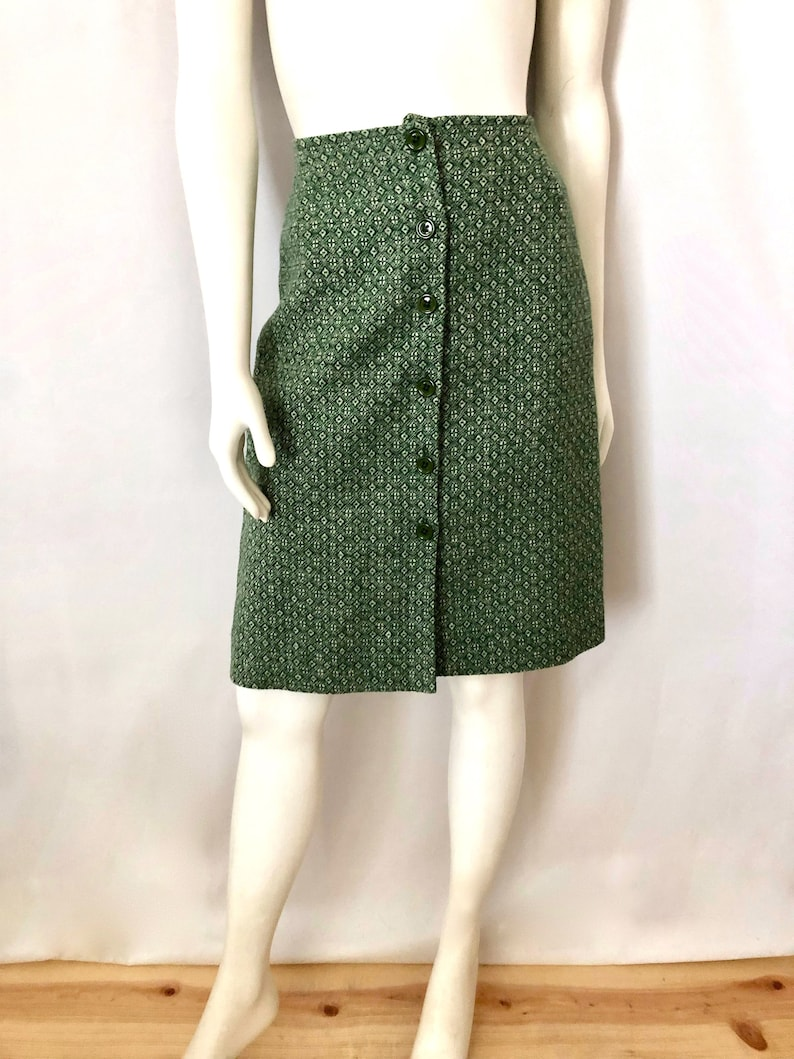 Vintage Women's 60's John Meyer Mod Green Wool A image 0