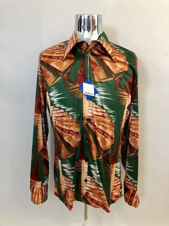 Vintage Men's 70's NOS, Green, Brown, Long Sleeve,
