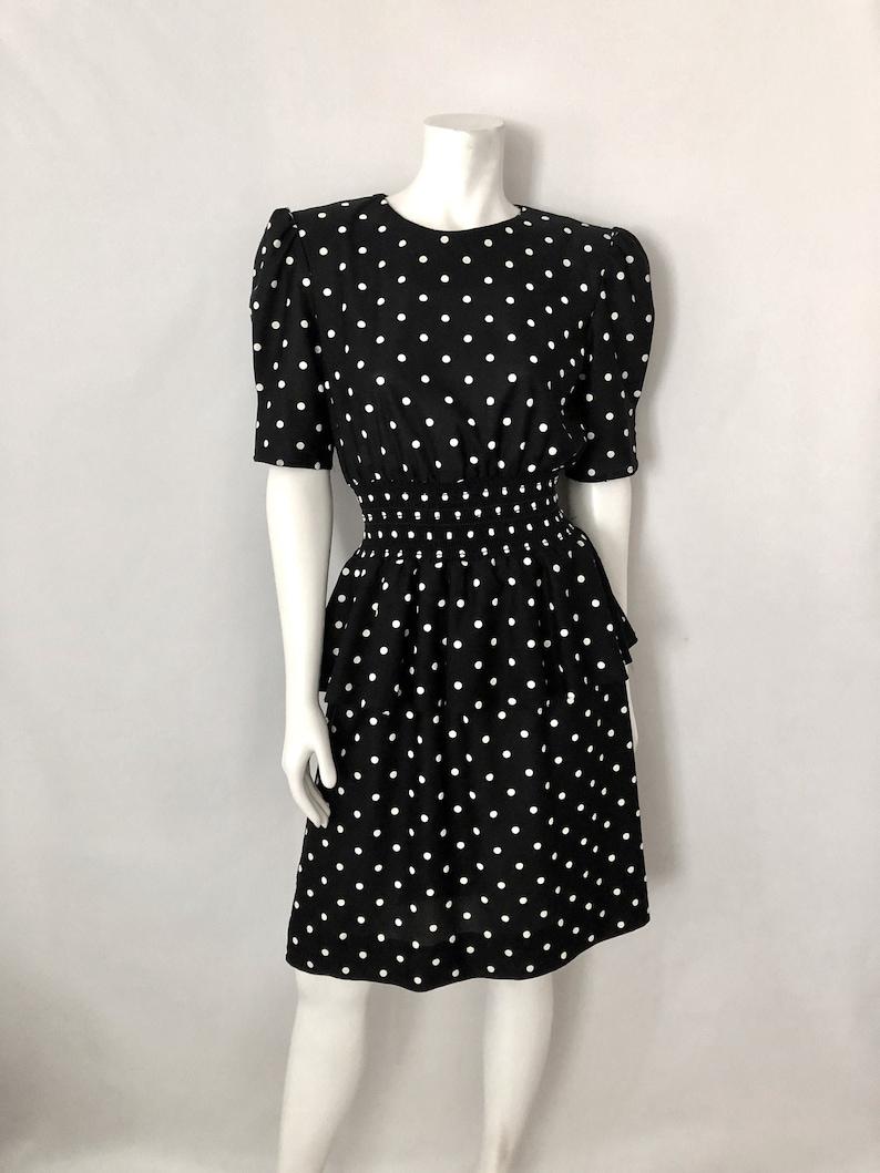 Vintage Women's 80's Black White Polka Dot Short image 0