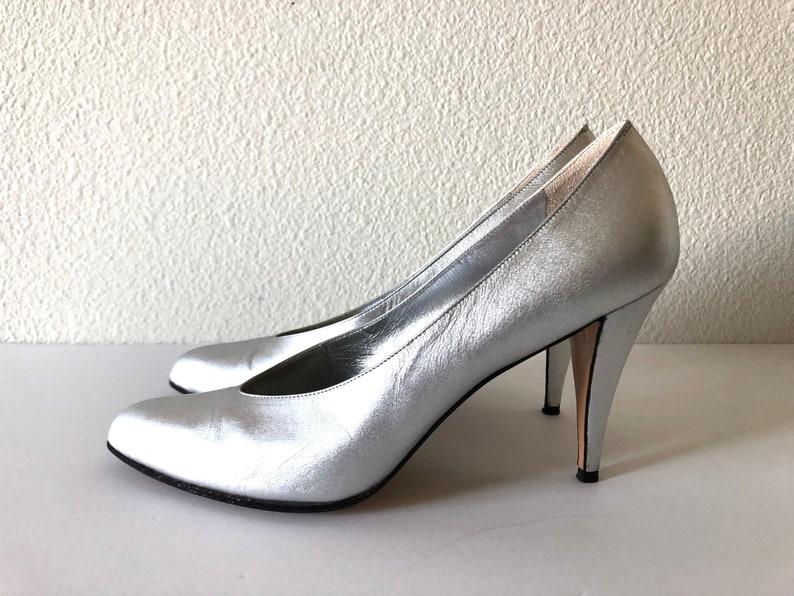 Vintage Shoes Women's 80's Anne Klein Silver Heels image 0
