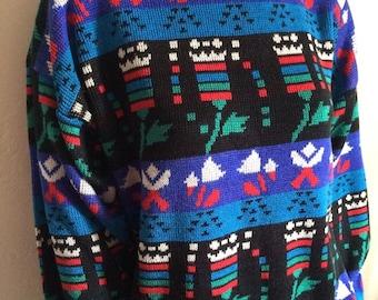 Vintage Women's 80's Sweater, Colorful, Geometric by Joan Harper (XL)