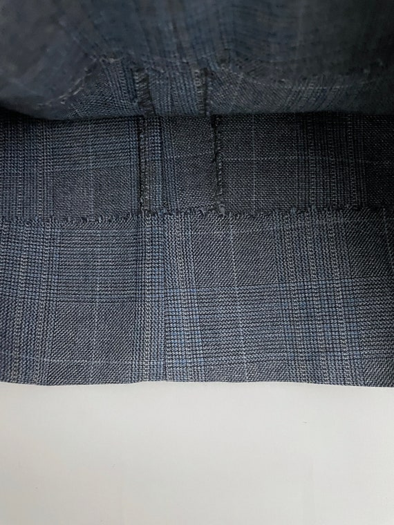 Vintage Men's 80's Blue-Gray, Plaid, Bootcut, Pan… - image 7