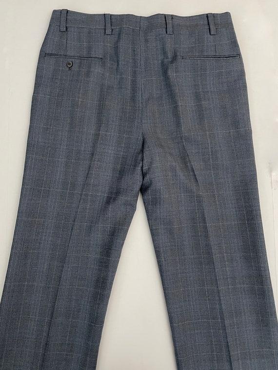 Vintage Men's 80's Blue-Gray, Plaid, Bootcut, Pan… - image 6