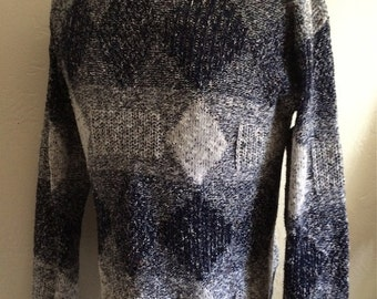 Vintage Men's 80's Sweater, Navy Blue, White, Diamond, Pull Over (M)