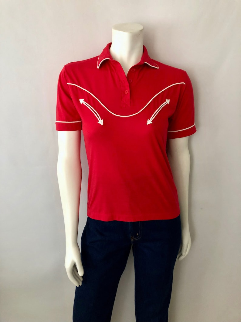 Vintage Women's 70's Sheplers Red Short Sleeve Polo image 0