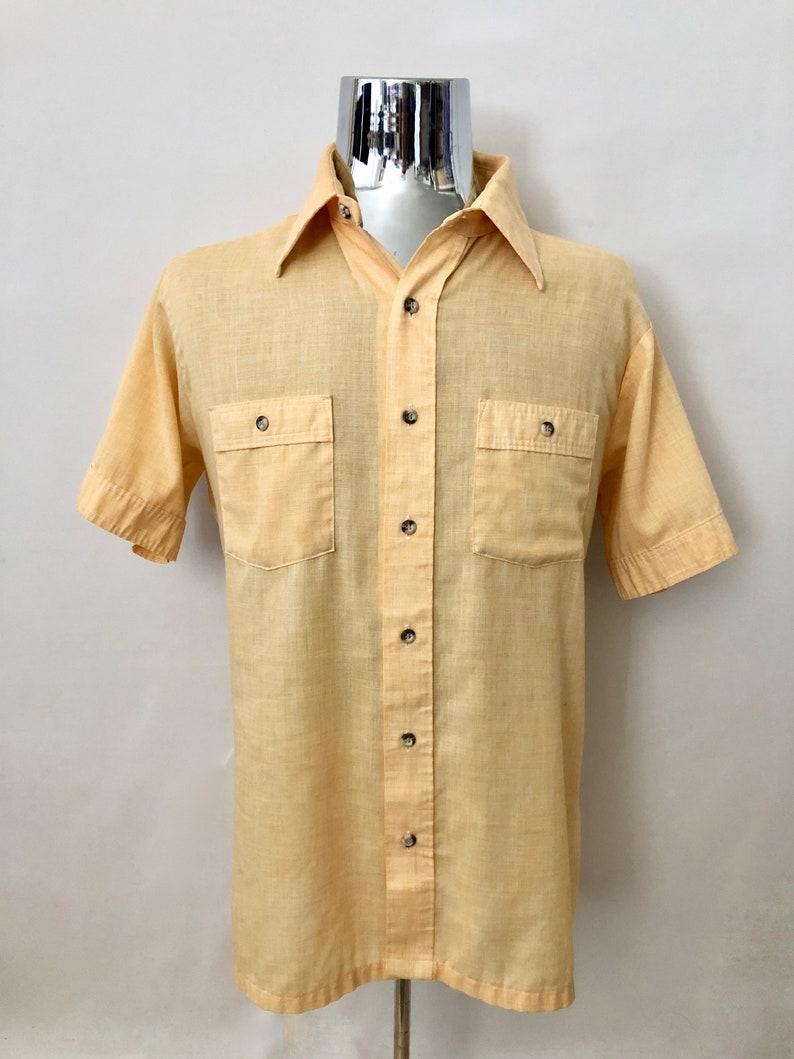Vintage Mens 80's Wrangler Western Shirt Yellow-Orange image 0