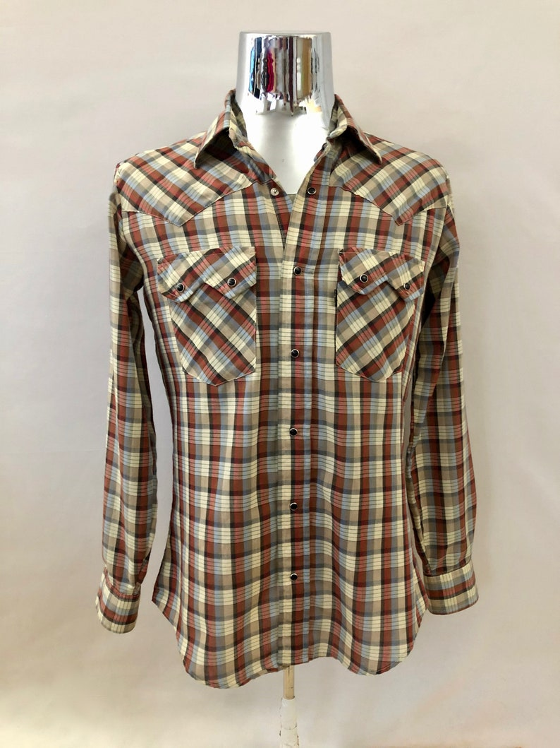 Vintage Men's 70's Levi's Plaid Shirt Long image 0