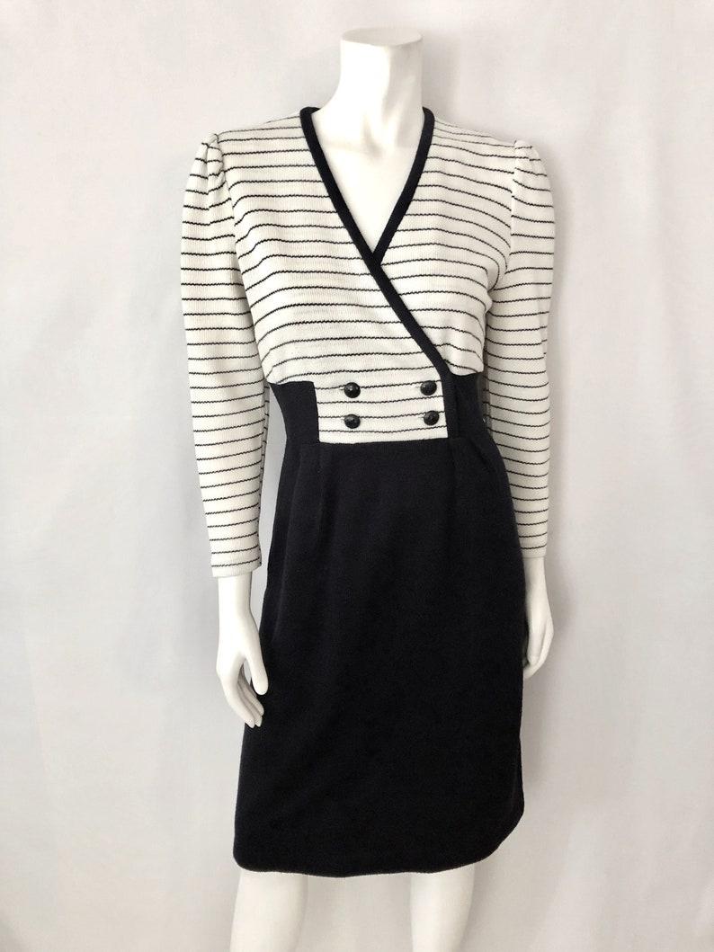 Vintage Women's 80's Black Off White Striped Long image 0