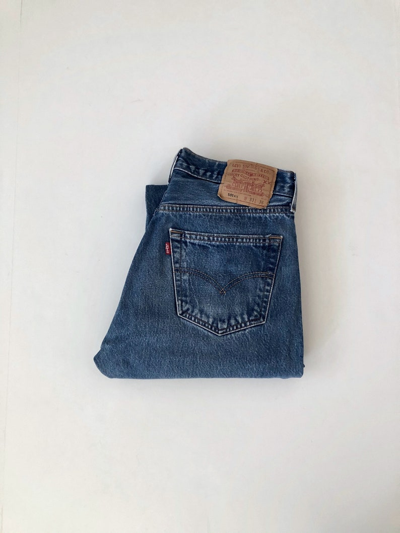 Vintage Men's 90's Levi's 501XX Jeans Blue Red image 0