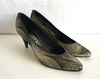 Vintage Shoes Women's 80's Gold, Black Heels by Connie (Size 8)