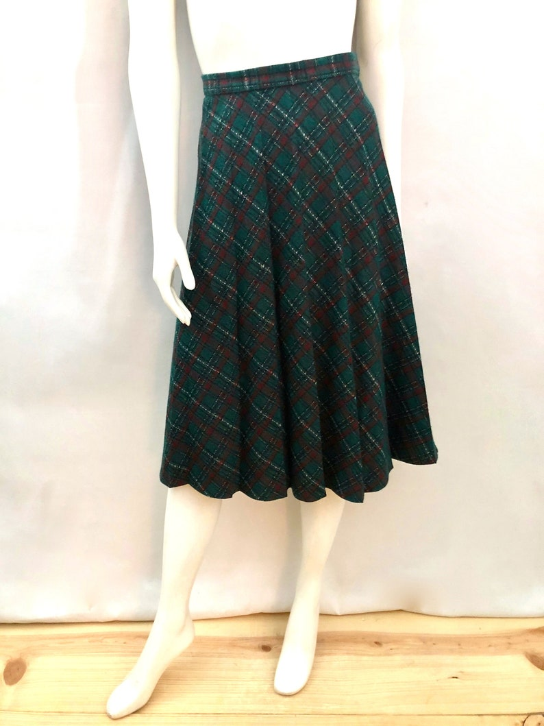 Vintage Women's 70's Green Red Plaid Pleated Skirt image 0