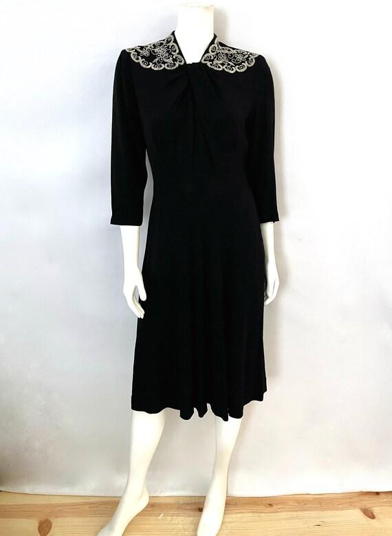 Vintage Women's 40's Black, Beaded, Sleeved, Wiggl