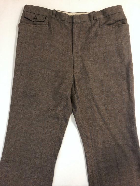 Vintage Men's 80's Brown, Plaid, Straight Leg, Pa… - image 2