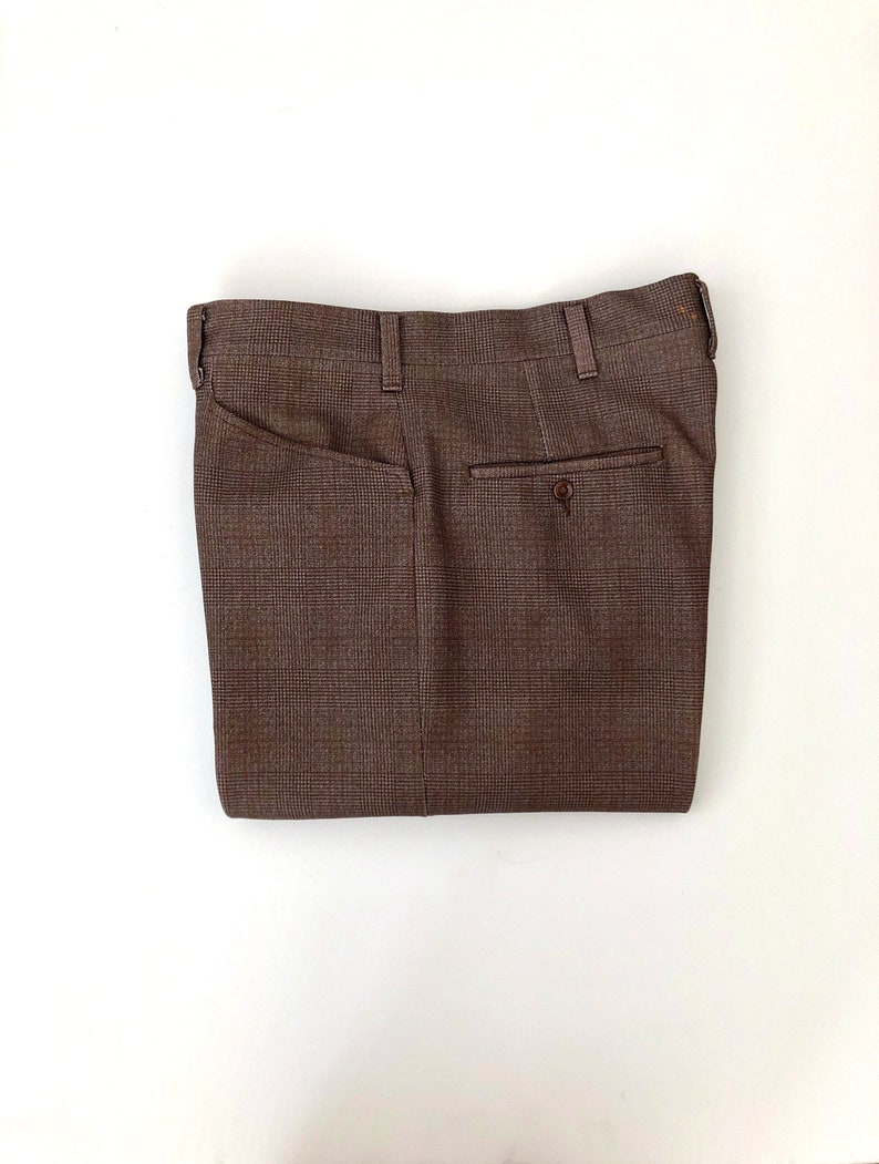 Vintage Men's 70's Haggar Brown Plaid Straight Leg image 0