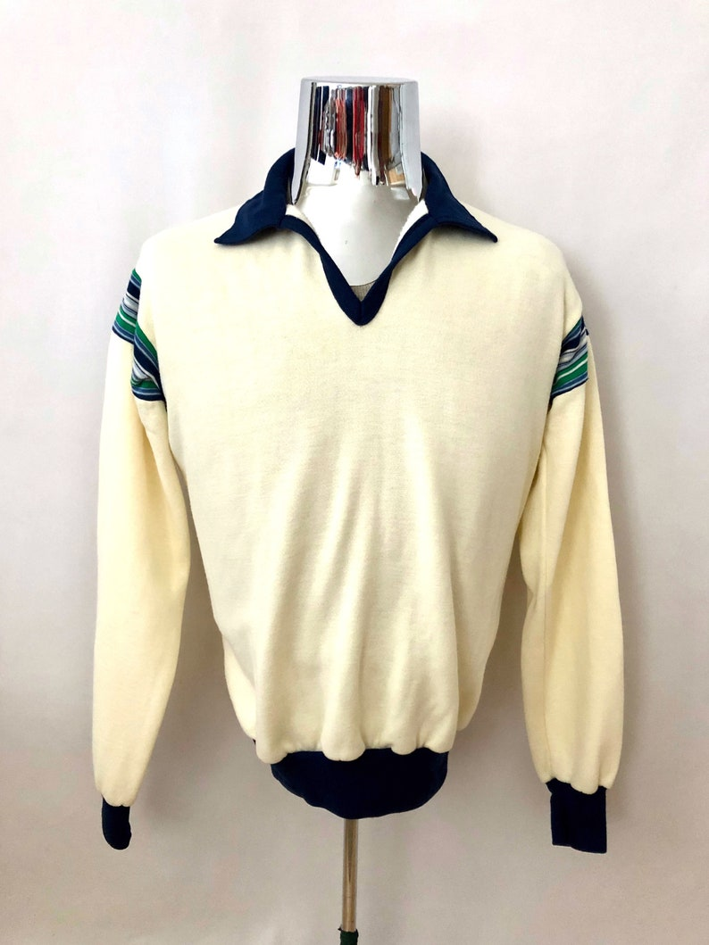 Vintage Men's 80's Striped Off White Long Sleeve image 0