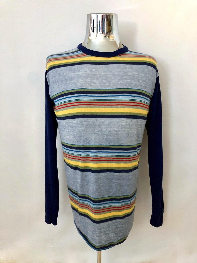 3573a634 Vintage Men's 70's Striped Acrylic Long Sleeve T   Etsy