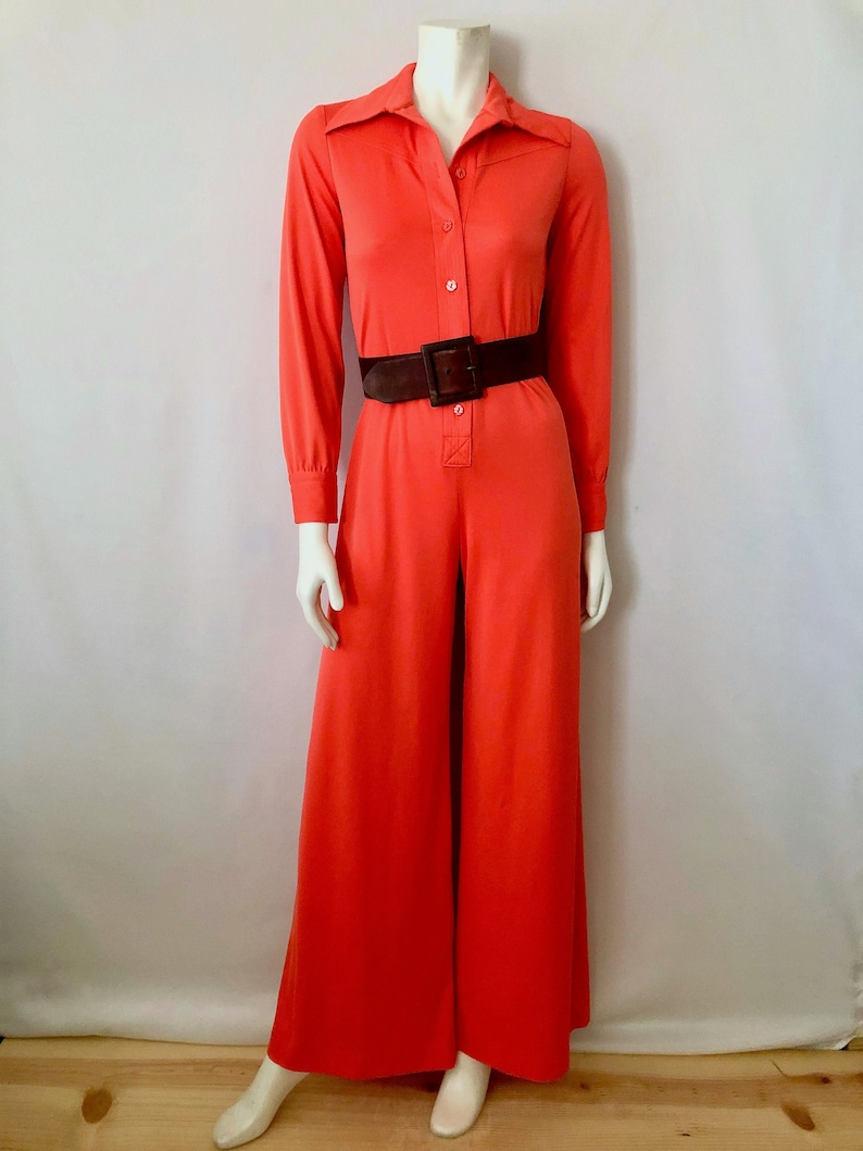 Vintage Women's 70's Disco Coral Polyester Long image 0